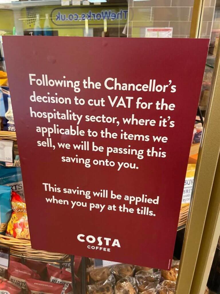 Costa Coffee 32p coffee VAT reduction