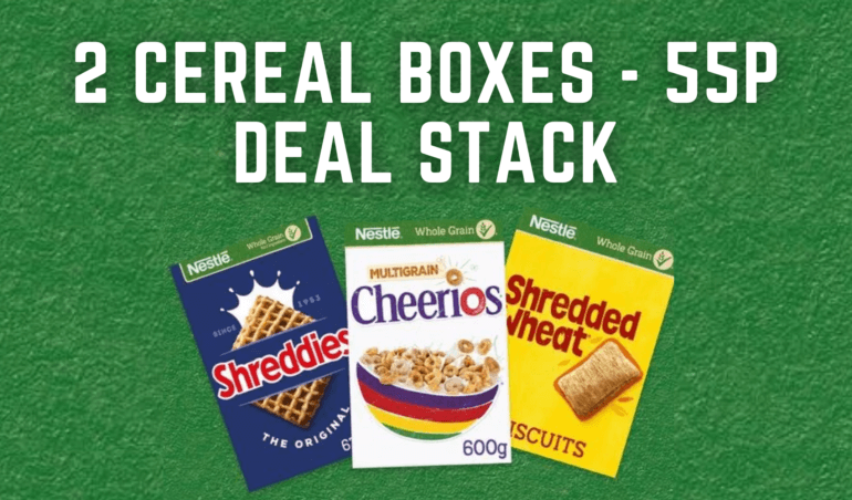 55p for 2 cereal boxes deal stack